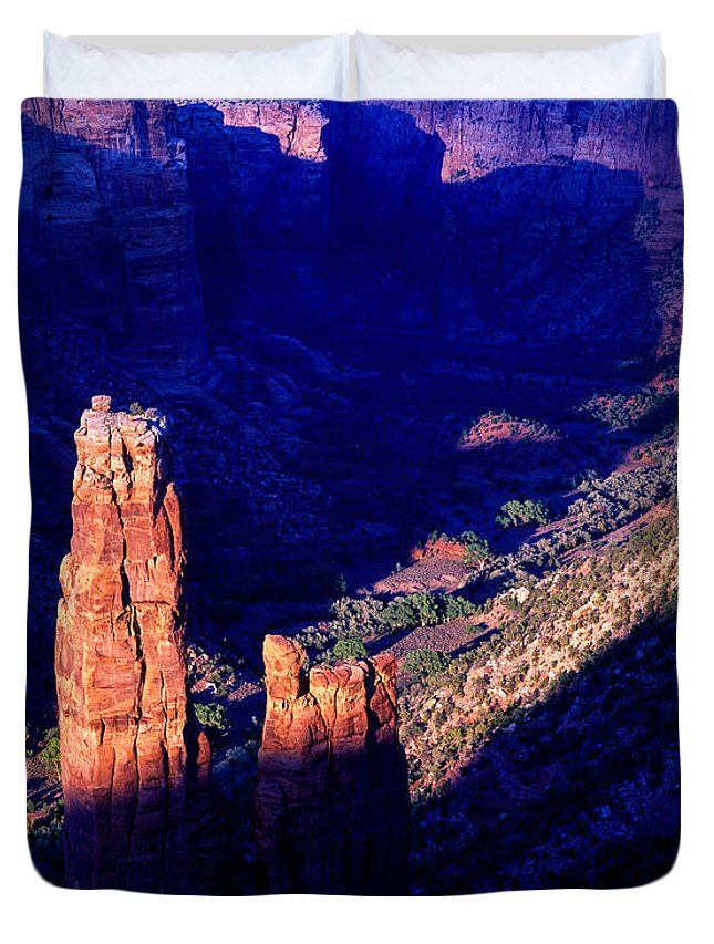 Arizona Duvet Cover featuring the photograph Spider Rock Sunset by Tracy Knauer