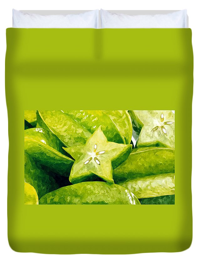Star Apple Fruit On The Tree Duvet Cover featuring the painting Star Fruit Carambola by Jeelan Clark