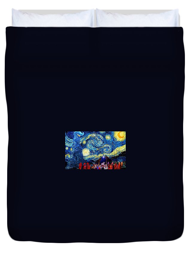 Starry Duvet Cover featuring the photograph Starry Night In Bethlehem by Sylvia Thornton