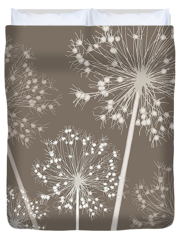 Dandelion Duvet Cover featuring the painting Starry Starry Night by Sarah Hough