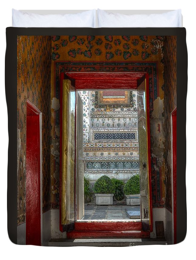 Michelle Meenawong Duvet Cover featuring the photograph Temple Door by Michelle Meenawong