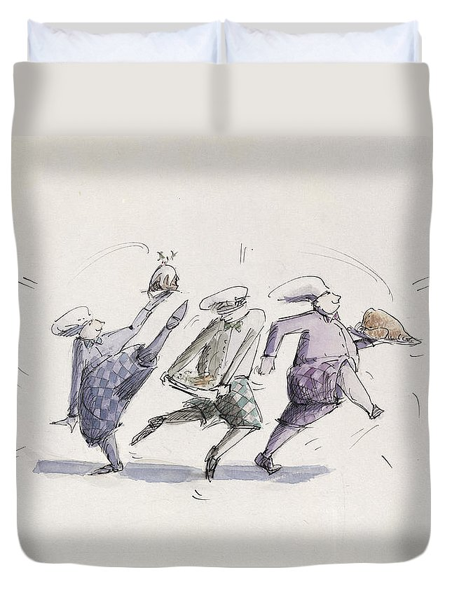 Chef; Cooking; Pudding; Turkey; Dancing; Food Duvet Cover featuring the painting The Christmas Dinner by Joanna Logan