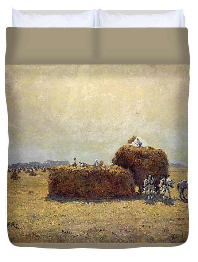 Hay; Agriculture; Worker; Work; La Moisson; The Harvest Duvet Cover featuring the painting The Harvest by Pierre-Georges Dieterle