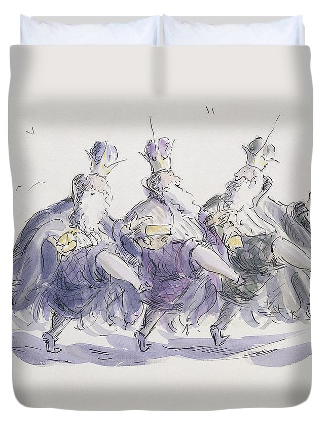 Crown; Can Can; Merry; King; Male; Beard; Dance Duvet Cover featuring the painting Three Kings Dancing A Jig by Joanna Logan