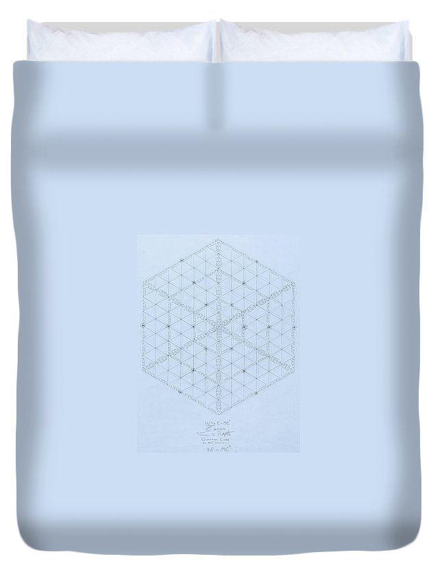 Energy Duvet Cover featuring the drawing Why Energy Equals Mass Times The Speed Of Light Squared by Jason Padgett