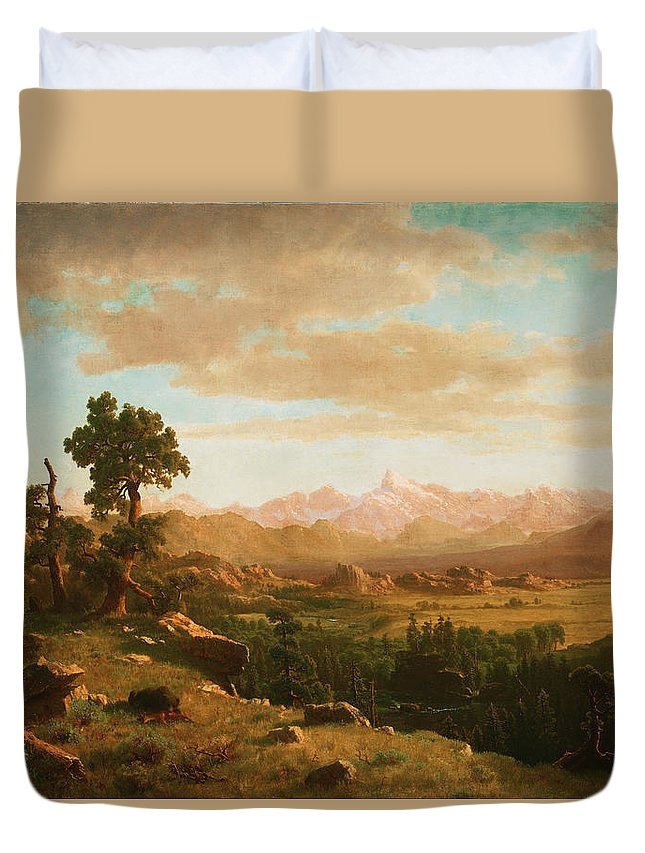 Albert Bierstadt Duvet Cover featuring the painting 	Wind River Country by Albert Bierstadt