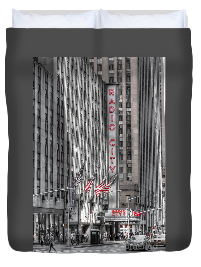 New Duvet Cover featuring the photograph 0007 Radio City Music Hall by Steve Sturgill