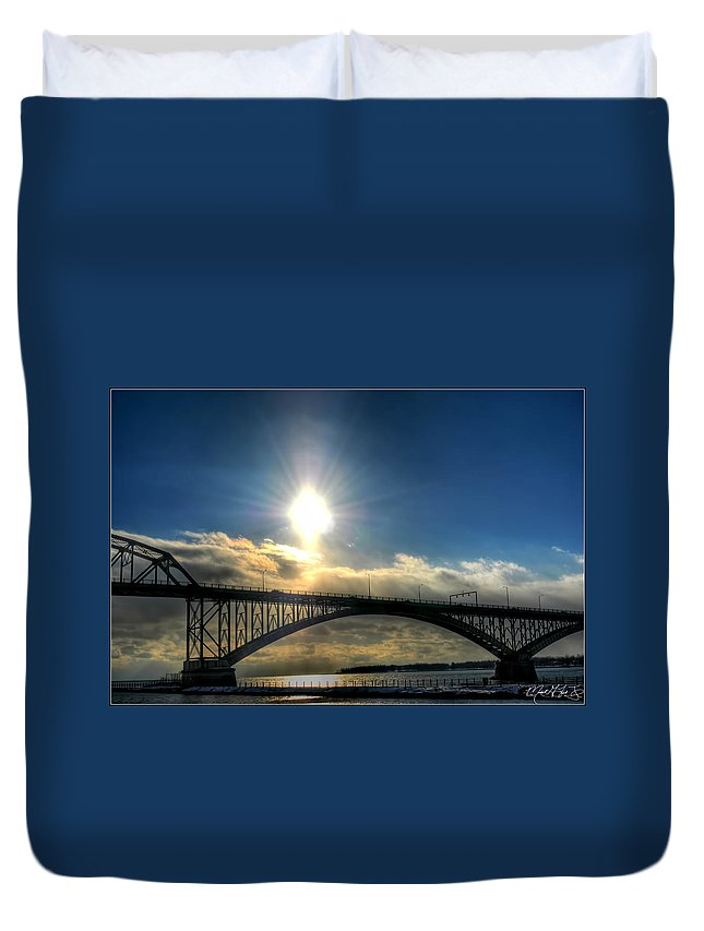 Peace Duvet Cover featuring the photograph 002 Peace Bridge In Passing by Michael Frank Jr