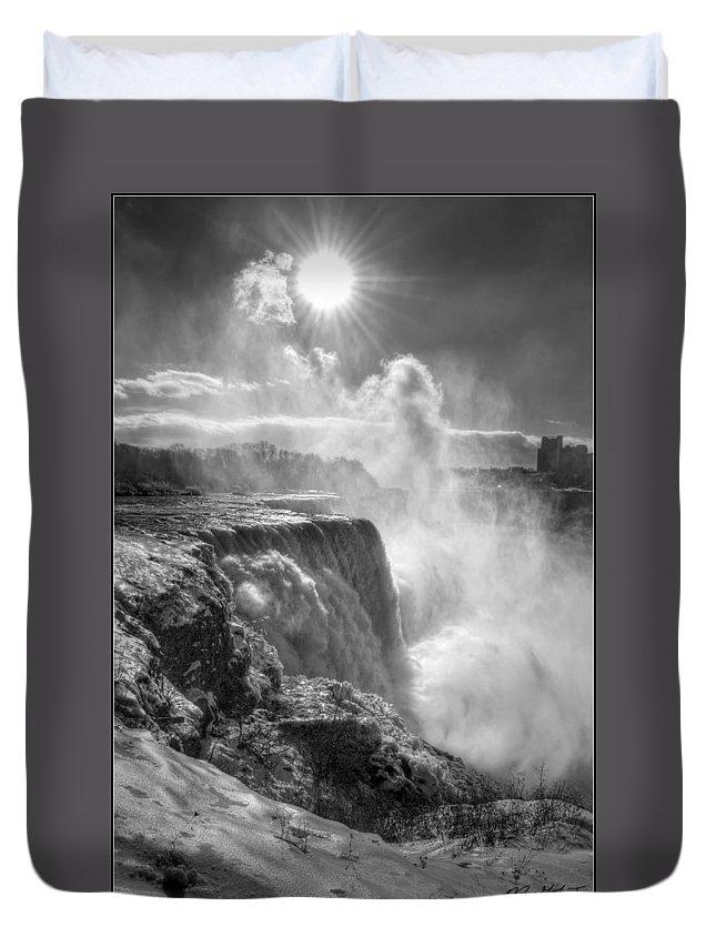 Niagara Falls Duvet Cover featuring the photograph 007a Niagara Falls Winter Wonderland Series by Michael Frank Jr