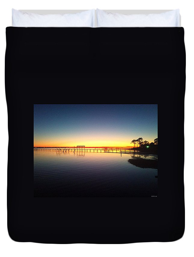 20120103 Duvet Cover featuring the photograph 0103 Sunset Twilight On Santa Rosa Sound by Jeff at JSJ Photography