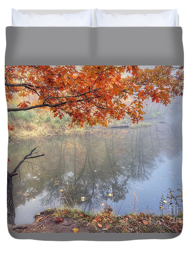 Starved Duvet Cover featuring the photograph 0132 Autumn At Starved Rock by Steve Sturgill