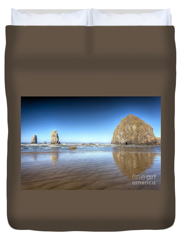 Cannon Duvet Cover featuring the photograph 0238 Cannon Beach Oregon by Steve Sturgill