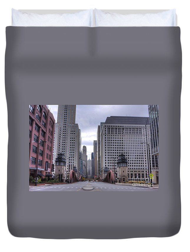 Chicago Duvet Cover featuring the photograph 0500 Lasalle Street Bridge Chicago by Steve Sturgill