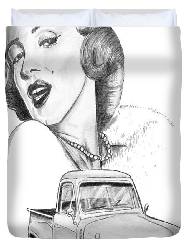 Duvet Cover featuring the drawing 058b-monroe by Keith Spence