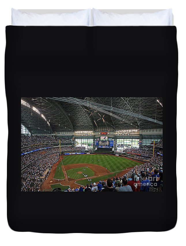 Miller Duvet Cover featuring the photograph 0611 Miller Park by Steve Sturgill