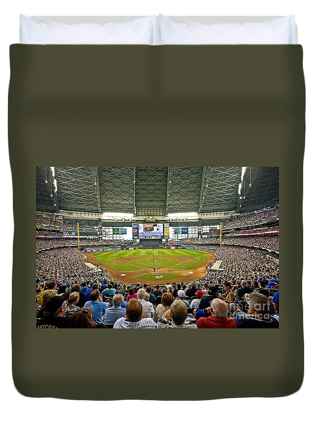 Milwaukee Duvet Cover featuring the photograph 0619 Milwaukee's Miller Park by Steve Sturgill