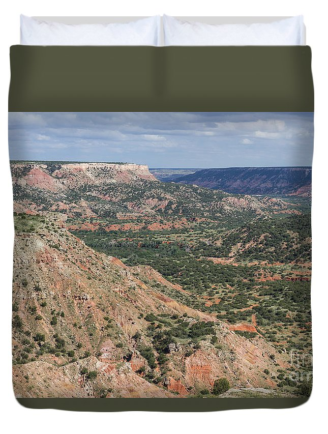 Palo Duro Canyon Duvet Cover featuring the photograph 07.30.14 Palo Duro Canyon - Lighthouse Trail 5e by Ashley M Conger