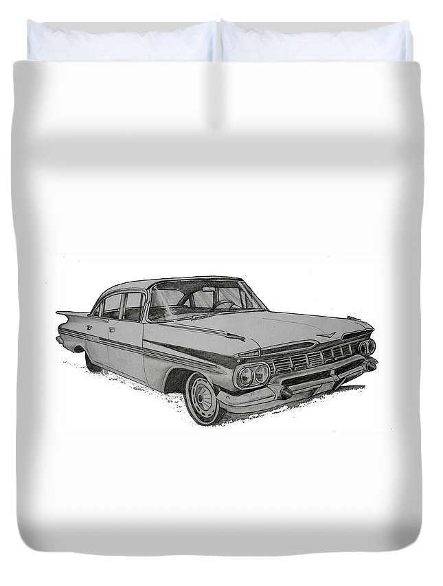 Duvet Cover featuring the drawing 079-car by Keith Spence