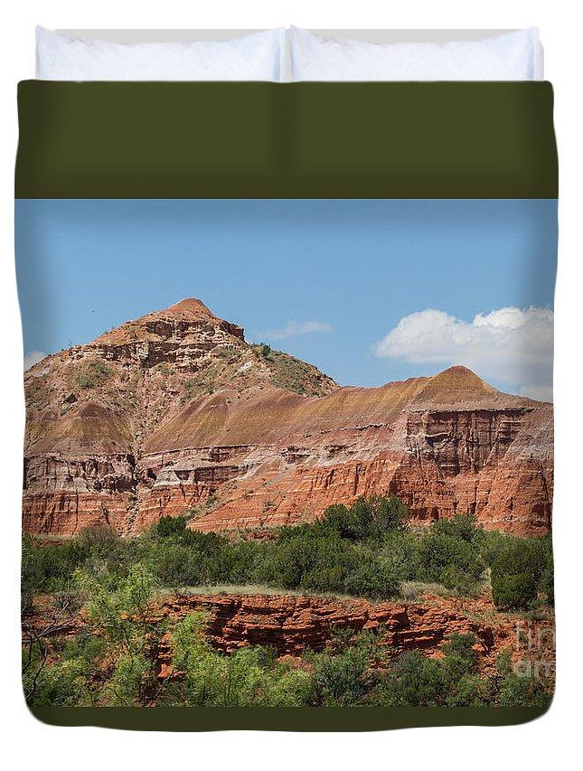 Palo Duro Canyon Duvet Cover featuring the photograph 08.03.14 Palo Duro Canyon Rojo Grande Trail 10e by Ashley M Conger