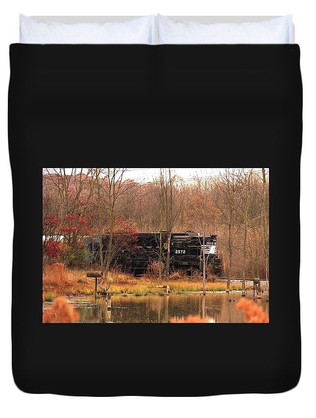 Train Duvet Cover featuring the photograph 080706-57 by Mike Davis