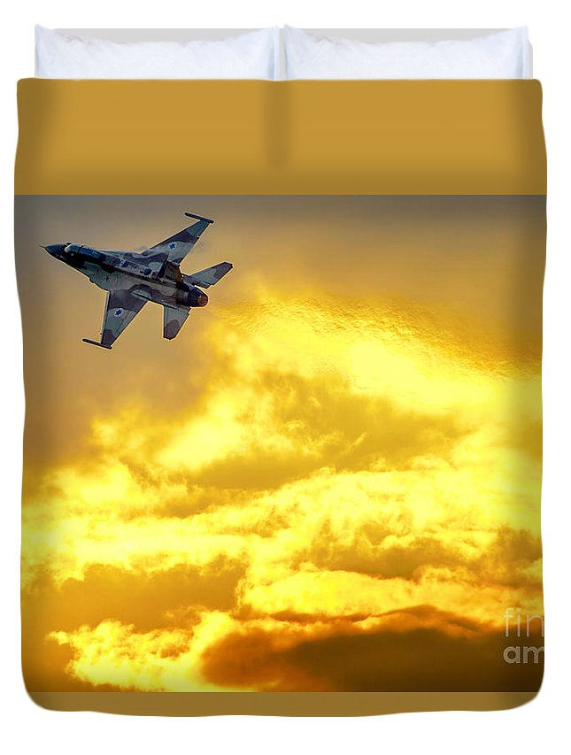 Iaf Duvet Cover featuring the photograph 1-iaf F-16i Fighter Jet by Nir Ben-Yosef