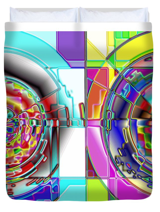 Yellow Duvet Cover featuring the digital art 1-14-2014 by John Holfinger