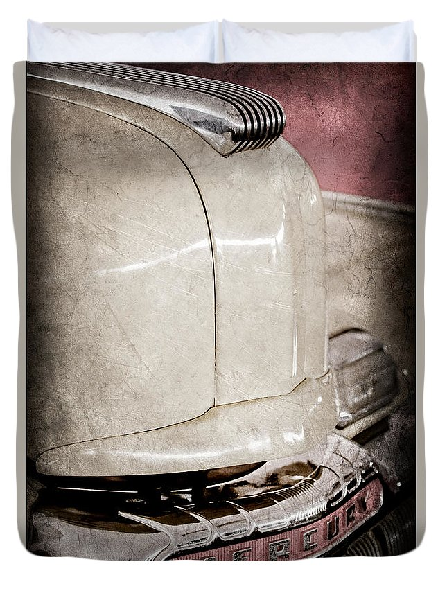 1947 Mercury Convertible Hood Ornament Duvet Cover featuring the photograph 1947 Mercury Convertible Hood Ornament - Emblem by Jill Reger