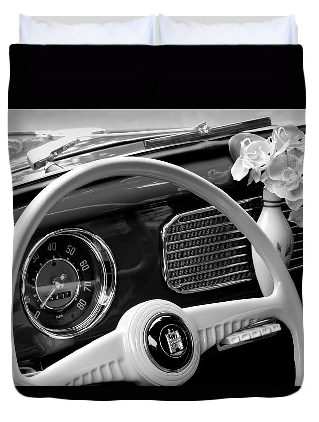 1952 Volkswagen Vw Bug Steering Wheel Duvet Cover featuring the photograph 1952 Volkswagen Vw Bug Steering Wheel by Jill Reger