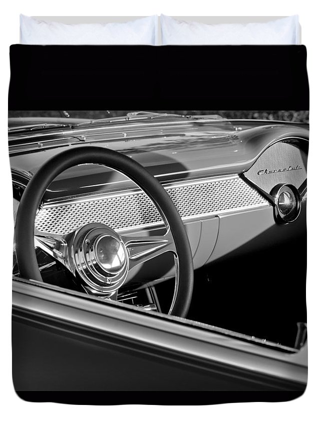1955 Chevrolet 210 Steering Wheel Duvet Cover featuring the photograph 1955 Chevrolet 210 Steering Wheel by Jill Reger