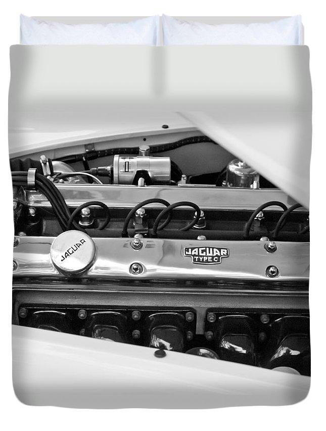 1955 Jaguar Engine Duvet Cover featuring the photograph 1955 Jaguar Engine by Jill Reger