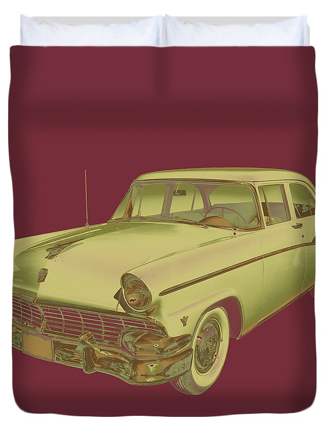 1956 Ford Custom Line Duvet Cover featuring the photograph 1956 Ford Custom Line Antique Car Pop Art by Keith Webber Jr