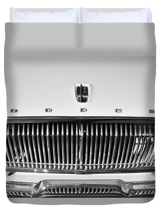 1962 Dodge Dart Grille Emblem Duvet Cover featuring the photograph 1962 Dodge Dart Grille Emblem by Jill Reger
