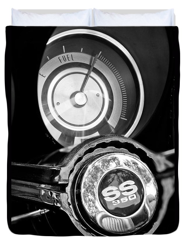 1967 Chevrolet Camaro Ss Steering Wheel Emblem Duvet Cover featuring the photograph 1967 Chevrolet Camaro Ss Steering Wheel Emblem Emblem by Jill Reger