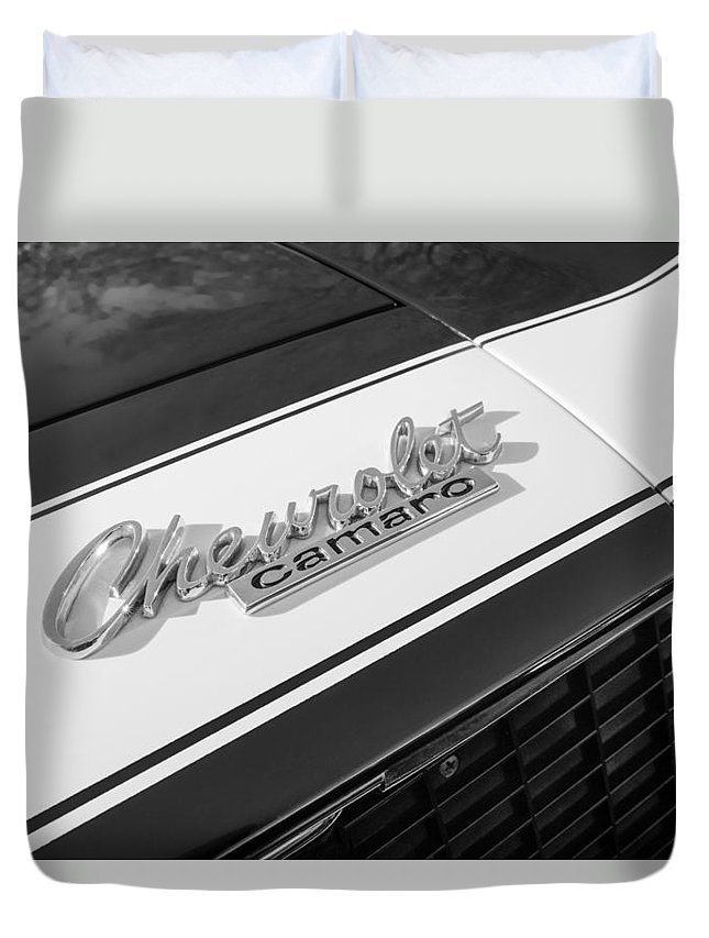 1967 Chevrolet Camaro Ss350 Convertible Emblem Duvet Cover featuring the photograph 1967 Chevrolet Camaro Ss350 Convertible Emblem by Jill Reger