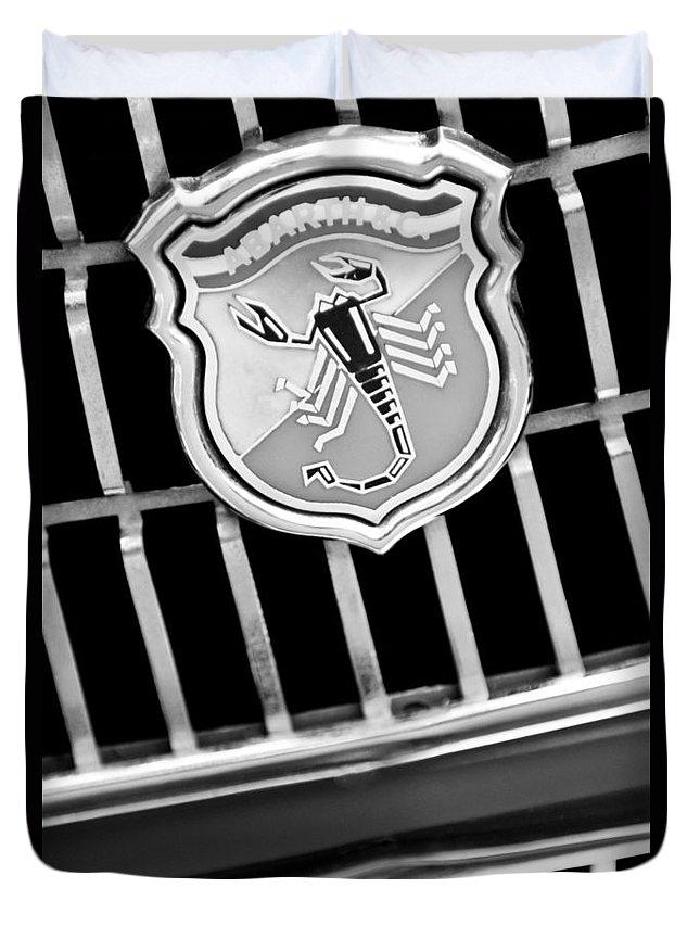 1967 Fiat Abarth 1000 Otr Emblem Duvet Cover featuring the photograph 1967 Fiat Abarth 1000 Otr Emblem by Jill Reger