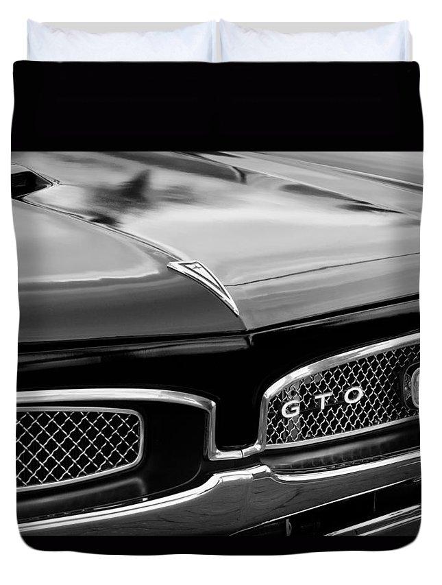 bbb8b2da1 1967 Pontiac Gto Grille Emblem Duvet Cover featuring the photograph 1967  Pontiac Gto Grille Emblem by