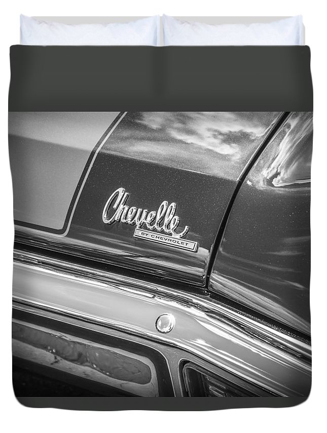 1970 Chevelle Duvet Cover featuring the photograph 1970 Chevy Chevelle 454 Ss Bw by Rich Franco