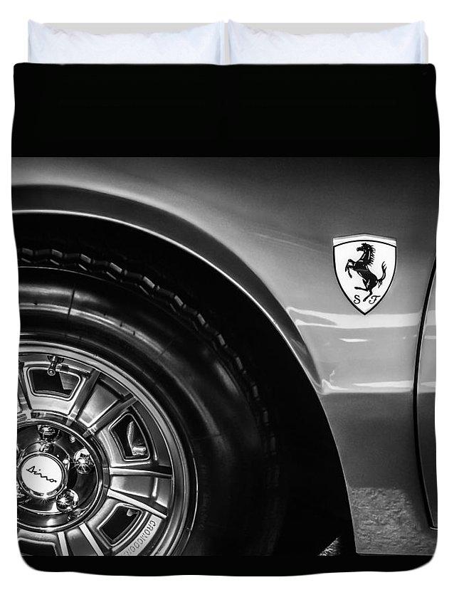 1971 Ferrari Dino Gt Wheel Emblem Duvet Cover featuring the photograph 1971 Ferrari Dino Gt Wheel Emblem -027c by Jill Reger