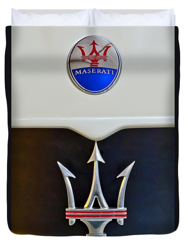 2005 Maserati Mc 12 Duvet Cover featuring the photograph 2005 Maserati Mc12 Hood Emblem by Jill Reger