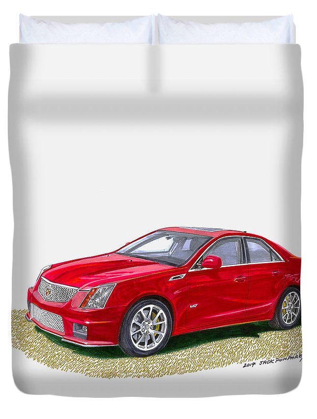 Watercolor Art Of The 2013 Cadillac Cts-v Sedan By Jack Pumphrey Duvet Cover featuring the painting 2013 Cadillac C T S V by Jack Pumphrey