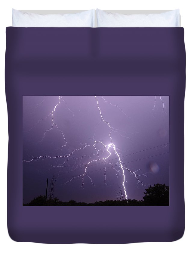 Lightning Duvet Cover featuring the photograph 2922 2 by Onyx Armstrong
