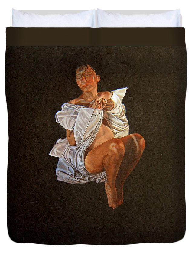 Semi-nude Duvet Cover featuring the painting 1 30 Am by Thu Nguyen