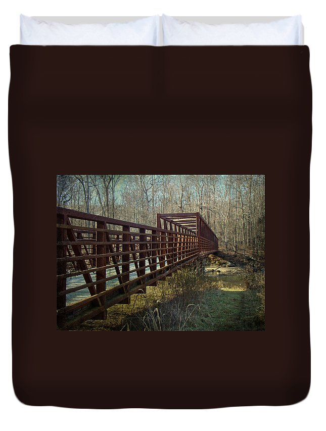 Bridge Duvet Cover featuring the photograph A Bridge Too Far by Mother Nature