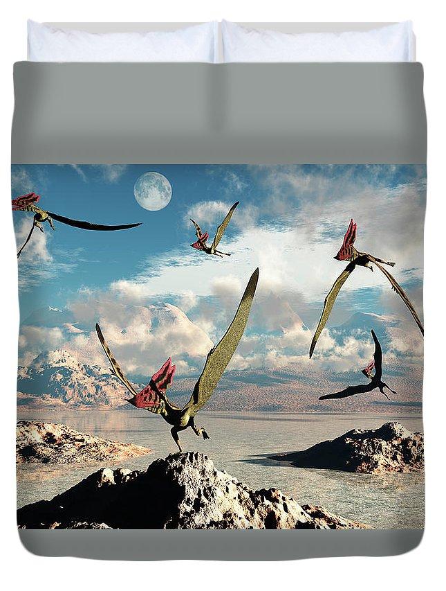 Horizontal Duvet Cover featuring the photograph A Flock Of Thalassodromeus Pterosaurs by Mark Stevenson