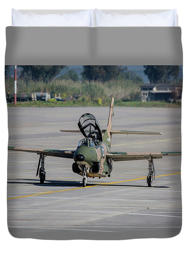 Greece Duvet Cover featuring the photograph A Hellenic Air Force T-2 Buckeye by Timm Ziegenthaler