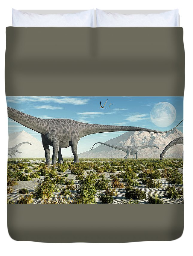 Horizontal Duvet Cover featuring the photograph A Herd Of Diplodocus Sauropod Dinosaurs by Mark Stevenson