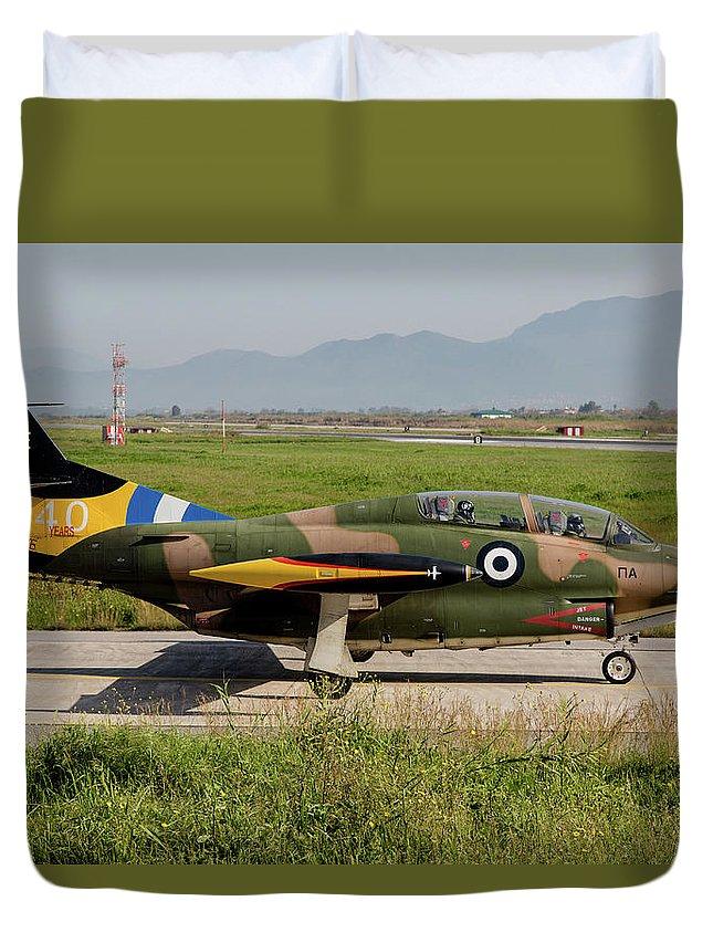Greece Duvet Cover featuring the photograph A T-2e Buckeye Trainer Aircraft by Timm Ziegenthaler