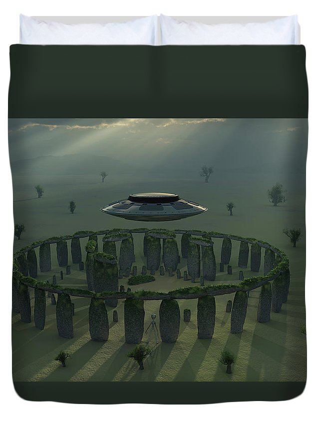 Horizontal Duvet Cover featuring the photograph A Ufo & Its Alien Crew Visiting by Mark Stevenson