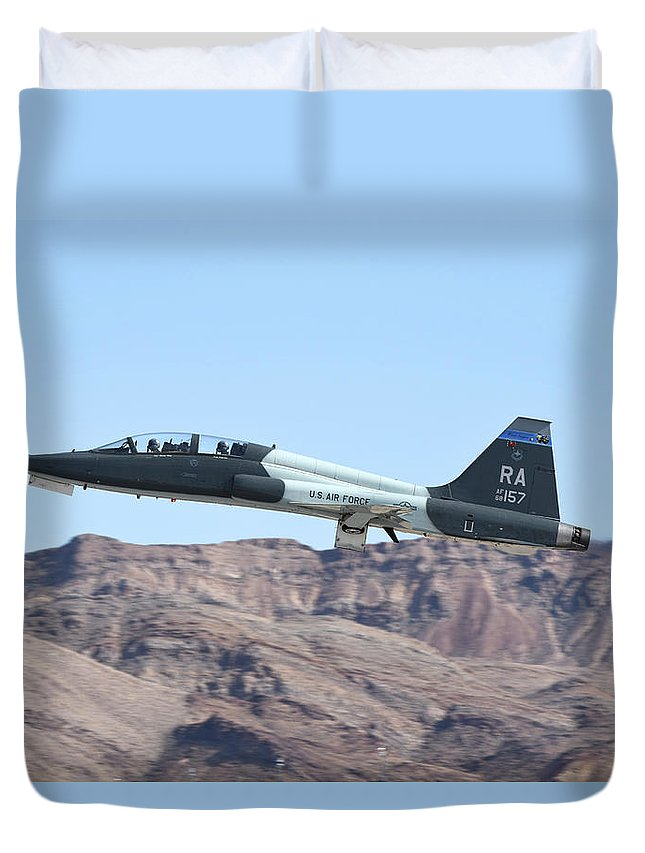 Nellis Air Force Base Duvet Cover featuring the photograph A U.s. Air Force T-38c Taking by Riccardo Niccoli