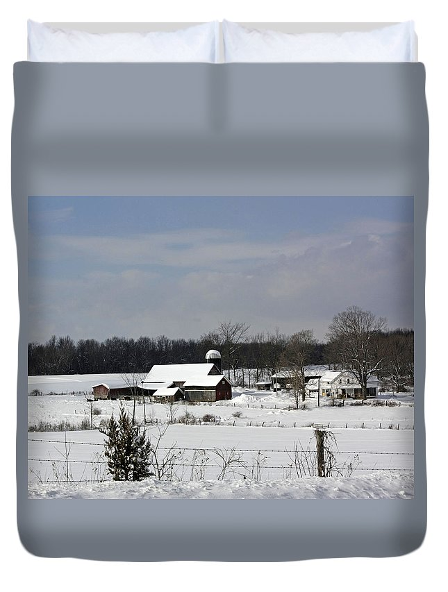 Wintery Scenery Duvet Cover featuring the photograph A Wintery View Of A Farm On Goode Street by James Connor